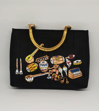 Load image into Gallery viewer, Musical Instruments Painted Black Bag