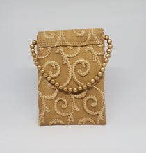 Load image into Gallery viewer, Gold Beaded With Simple Design Mobile Pouch