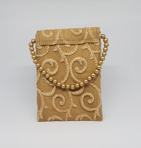 Gold Beaded With Simple Design Mobile Pouch