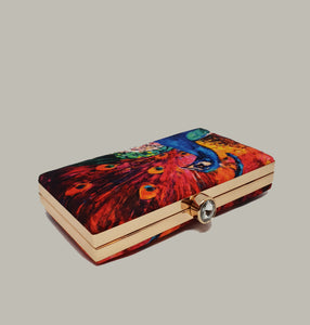 Colorful Peacock Print Box Clutch