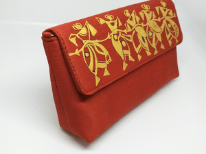 Orange with Gold paint Clutch