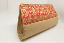 Load image into Gallery viewer, Orange Floral Jute Clutch
