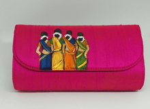 Load image into Gallery viewer, Pink Painted Indian Art Clutch