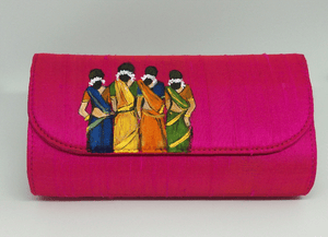 Pink Painted Indian Art Clutch