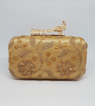 Load image into Gallery viewer, Gold Embroidered Box Clutch