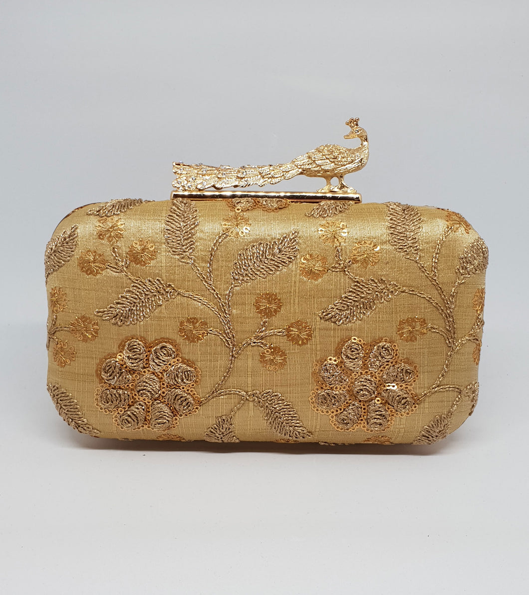 Gold Embroidered Box Clutch