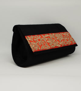Orange Design Black Basic Clutch