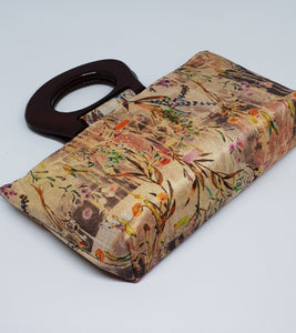 Silk Floral Wooden Handle