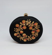 Load image into Gallery viewer, Black Embroidered Box Clutch