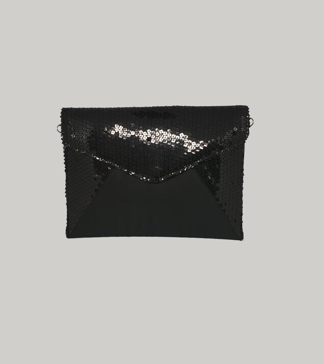 Black Sequin Envelope Clutch