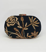 Load image into Gallery viewer, Black Velvet Beaded Clutch