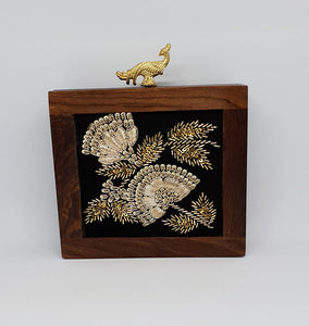 Embroidered Wooden Box Clutch