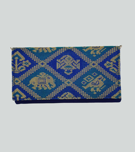 Royal Blue Brocade Envelope