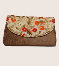 Load image into Gallery viewer, Cream with Red Floral Clutch