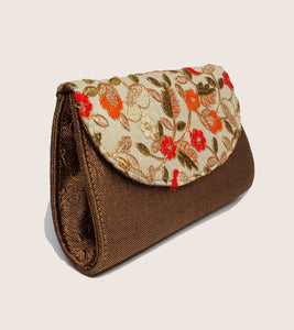 Cream with Red Floral Clutch