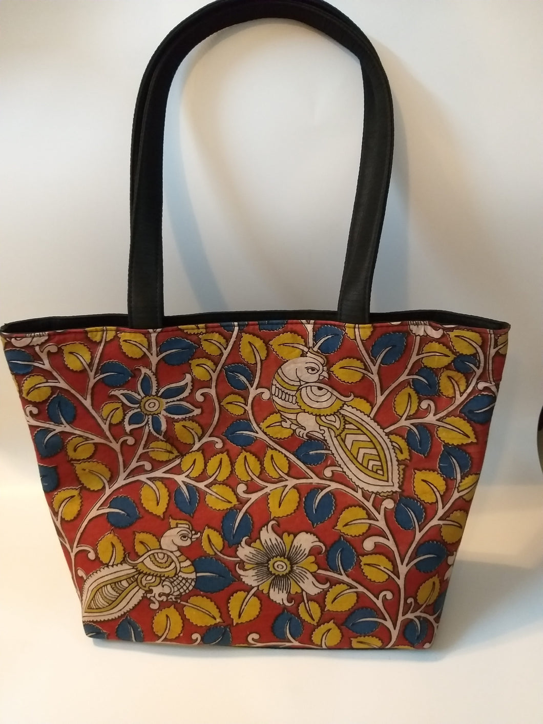 Yellow leaves Peacock Print Tote