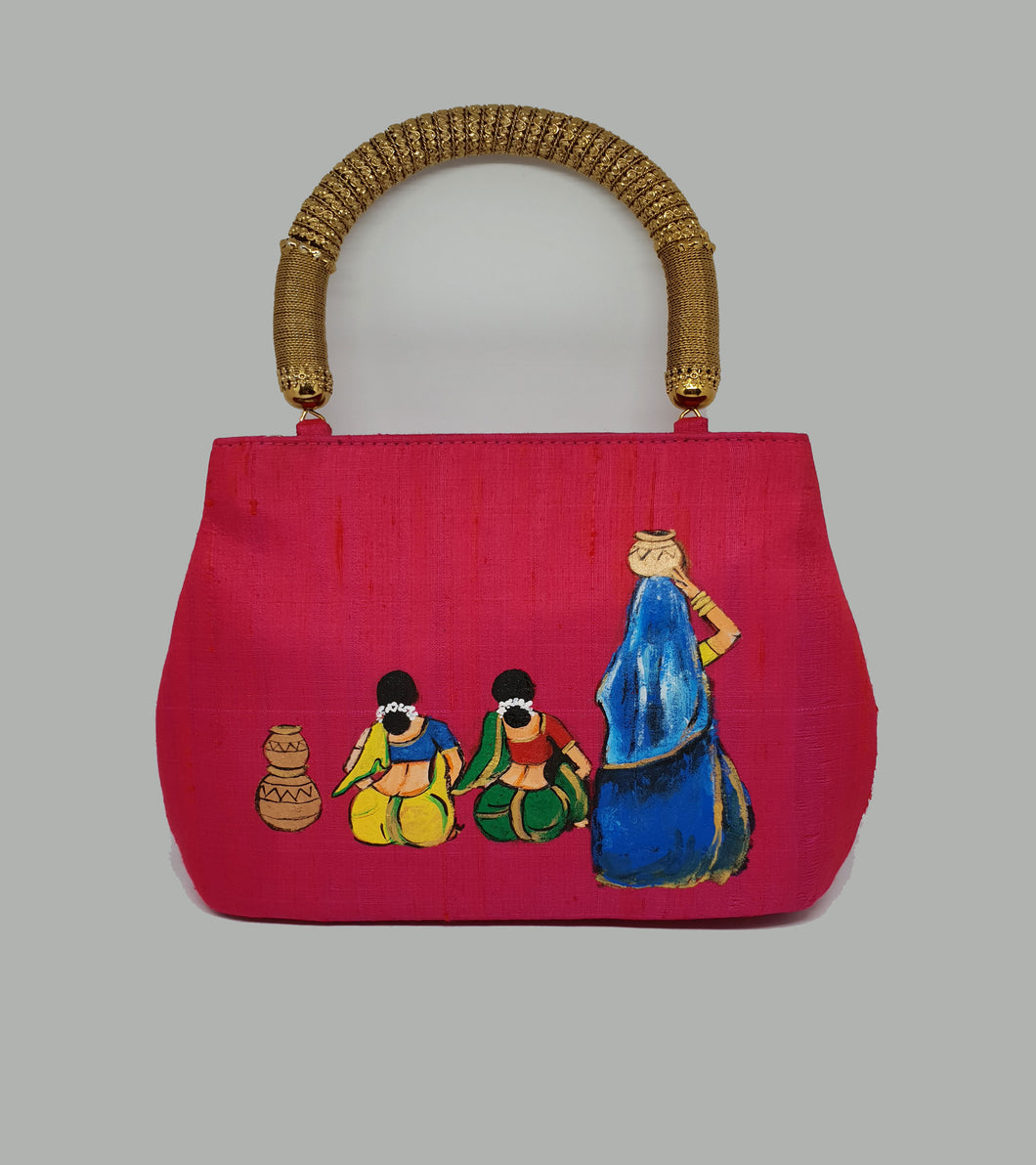 Painted Indian Art Handle Bag