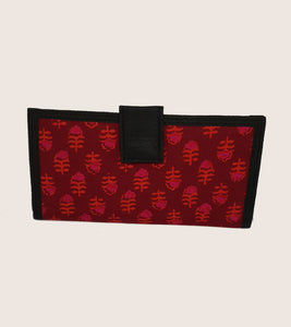 Black border with pink floral Wallet