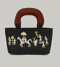 Load image into Gallery viewer, Black Hand Painted Warli Art