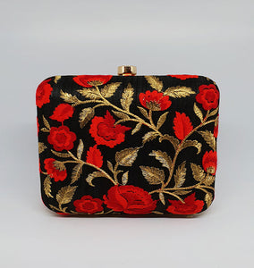 Red Floral Box Clutch
