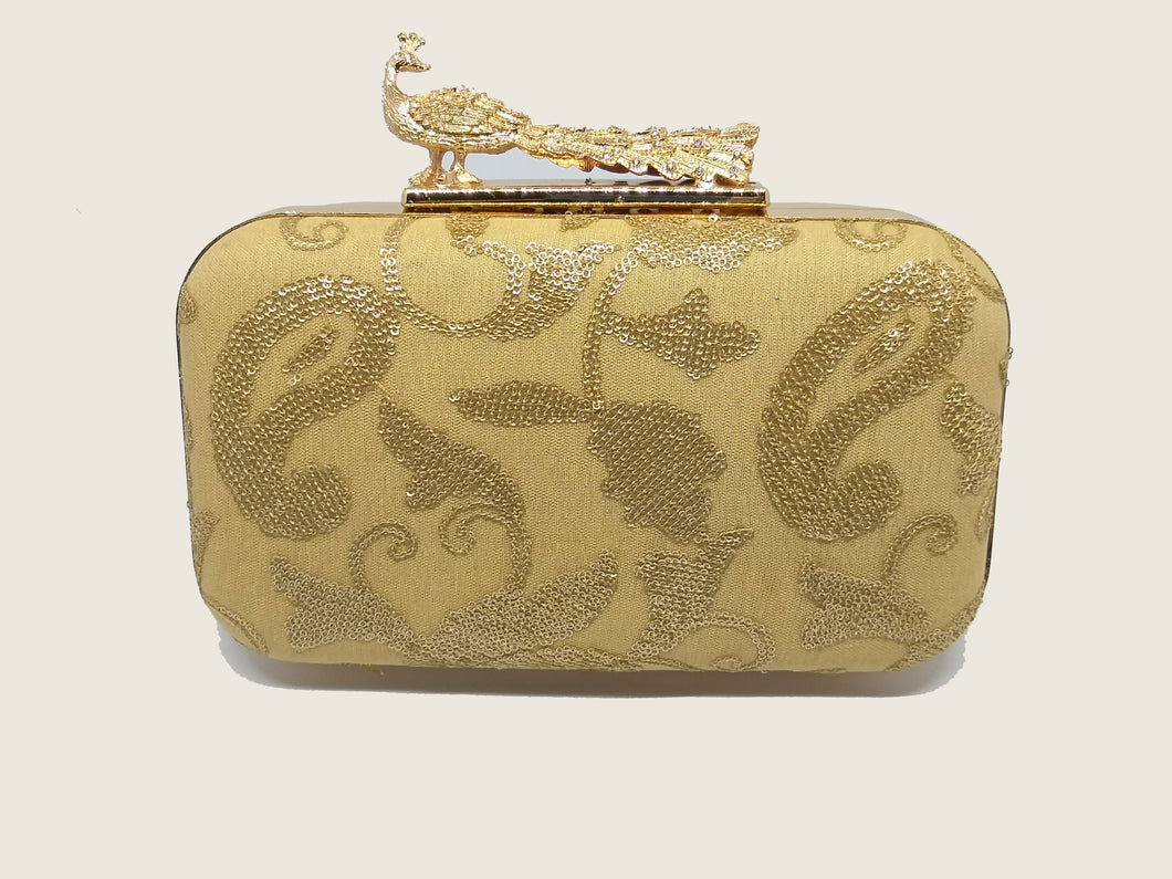 Gold Shimmered Box Clutch