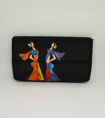 Hand Painted Black Clutch