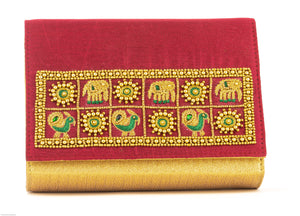Artisan Handmade Red Embroidered Clutch