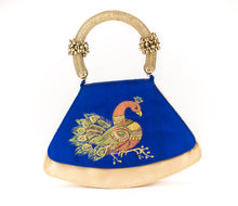 Load image into Gallery viewer, Artisan Handmade Painted Peacock Drawing Ghungroo Handle Hand Bag