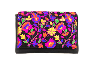 Artisan Handmade Floral Embroidered Envelope Clutch with Black Base