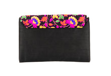Load image into Gallery viewer, Artisan Handmade Floral Embroidered Envelope Clutch with Black Base