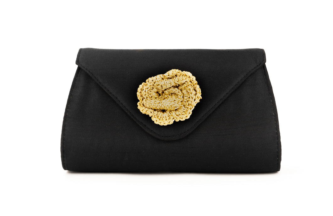 Artisan Handmade Black Clutch with Crochet Flower