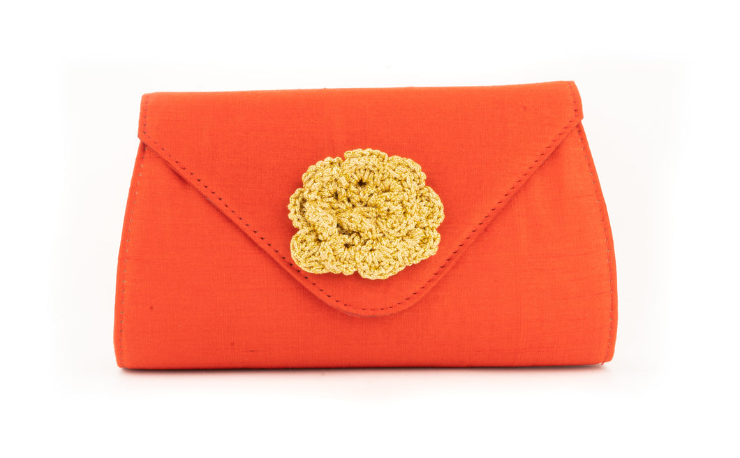 Artisan Handmade Red Clutch with Crochet Flower Ladies Purse
