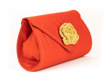 Load image into Gallery viewer, Artisan Handmade Red Clutch with Crochet Flower Ladies Purse