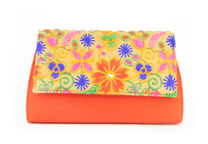 Artisan Handmade Embroided Floral Clutch with Red Base Ladies Purse