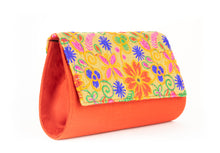 Load image into Gallery viewer, Artisan Handmade Embroided Floral Clutch with Red Base Ladies Purse