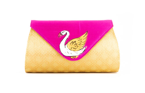 Artisan Handmade Triangle Flap Clutch In Pink with Gold Base
