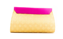 Load image into Gallery viewer, Artisan Handmade Triangle Flap Clutch In Pink with Gold Base