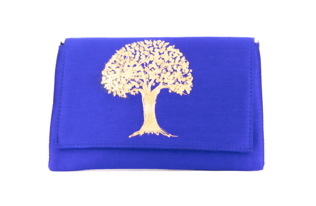 Artisan Handmade Painted Envelope Clutch with Royal Blue Base
