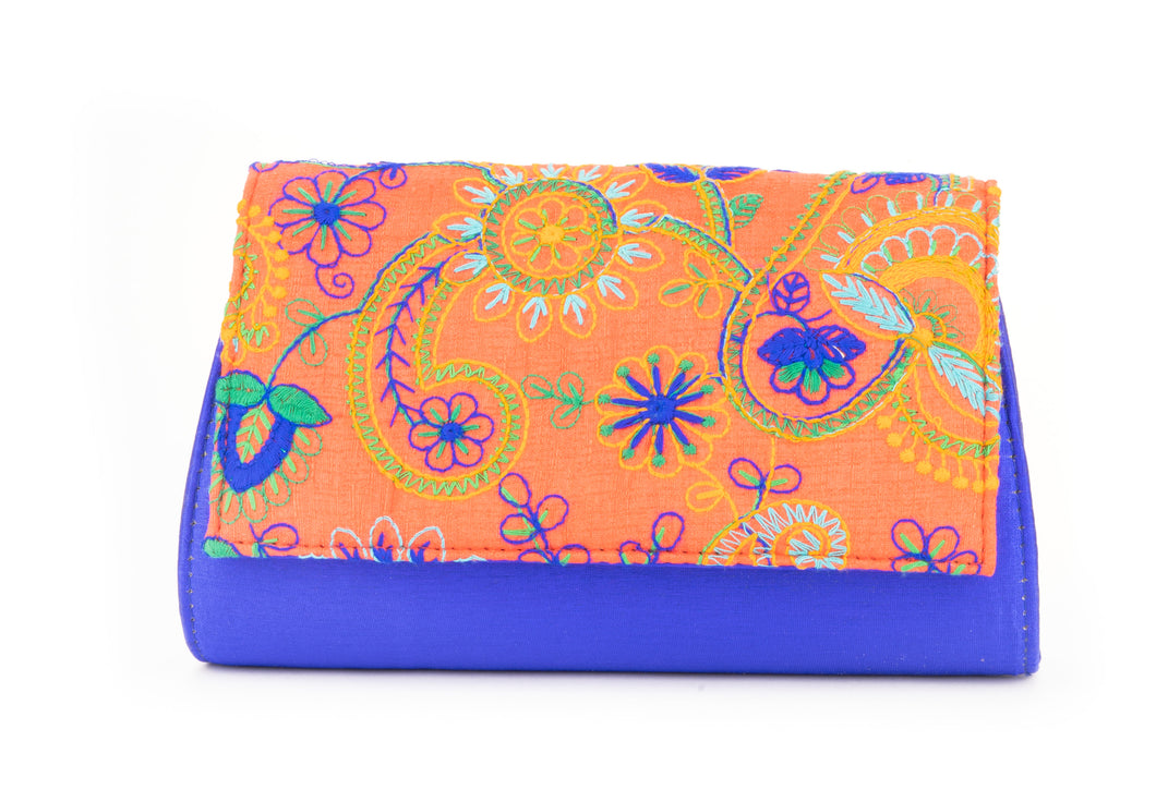 Artisan Handmade Embroidered Orange Clutch with Royal Blue Base
