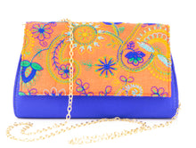 Load image into Gallery viewer, Artisan Handmade Embroidered Orange Clutch with Royal Blue Base