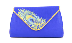 Artisan Handmade Triangle Flap Clutch in Royal Blue Plain