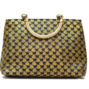 Green Shined Gold Handle Bag
