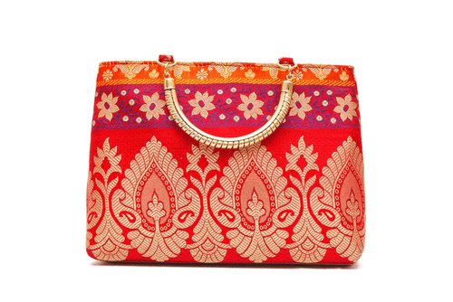 Multicolored Gold Handle Bag
