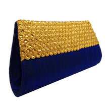 Load image into Gallery viewer, Blue with Yellow Beads Clutch