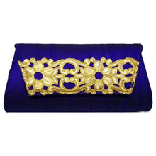 Load image into Gallery viewer, Blue with Gold Flower Clutch