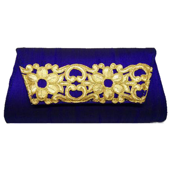 Blue with Gold Flower Clutch