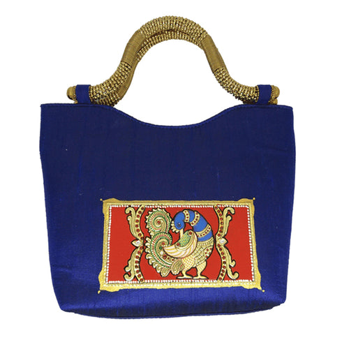 Blue Antique Handle Tanjore