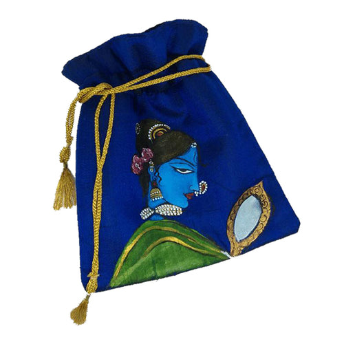 Blue Painted Potli