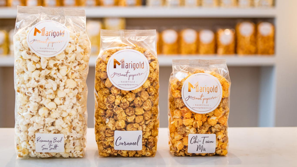 Small, medium, large popcorn bags