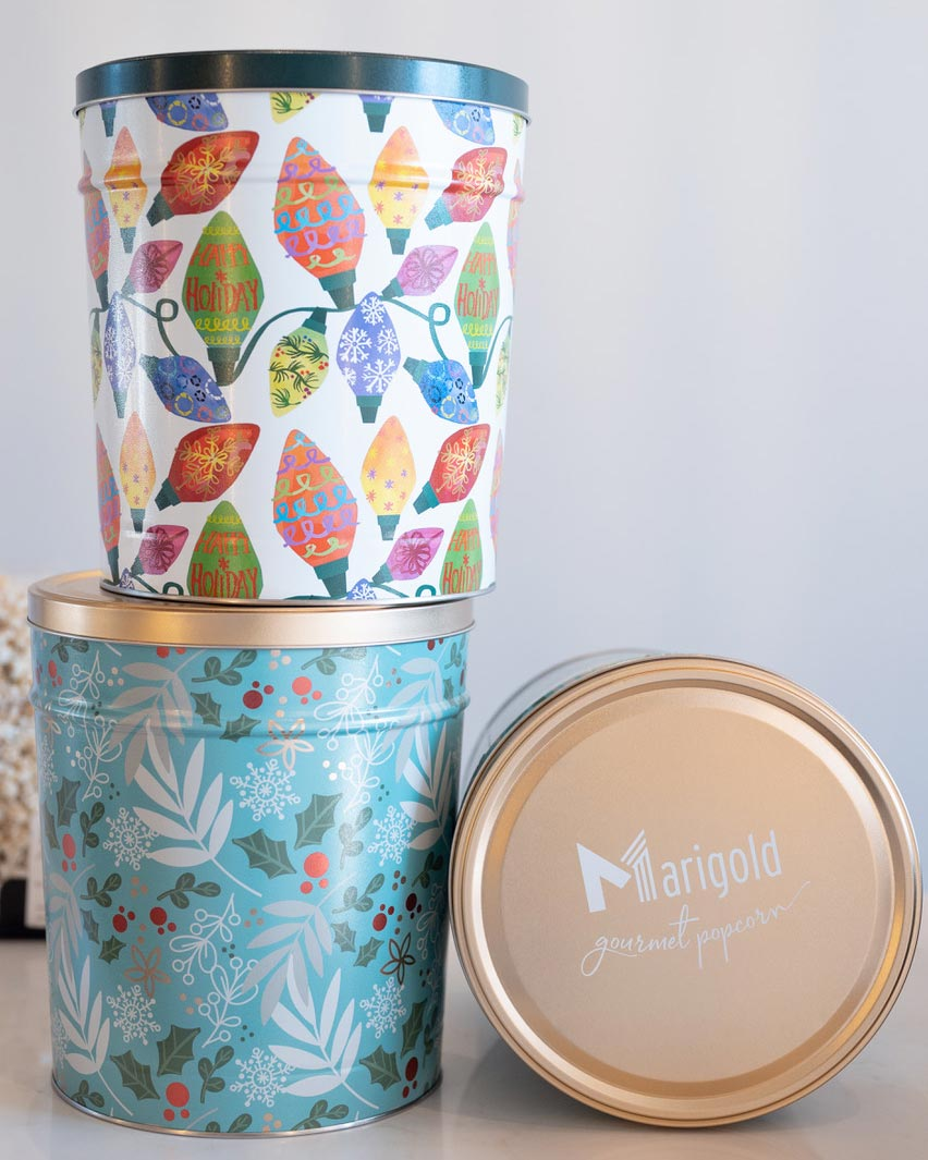 Holiday Popcorn Tins - Empty